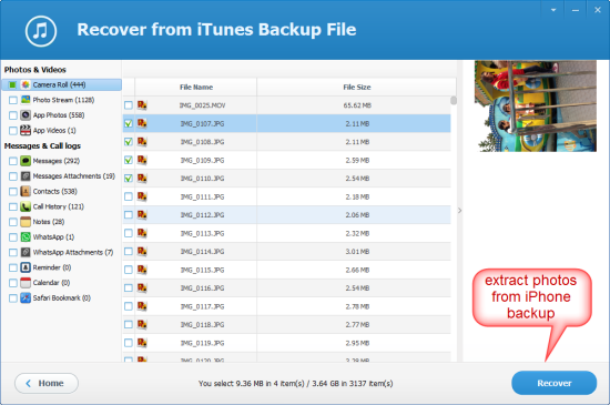 how to extract photos from iphone backup free