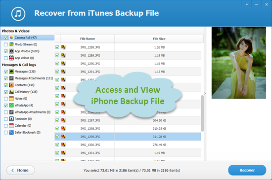 How to access itunes backup