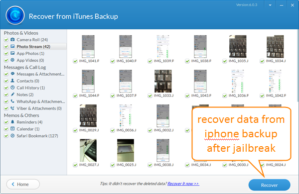 Restore iPhone Data from Backup after Jailbreak
