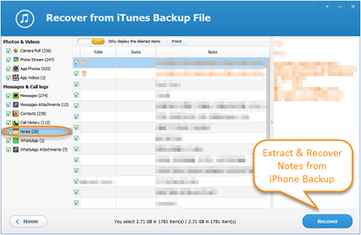 Extract & Recover Notes from iPhone Backup Free