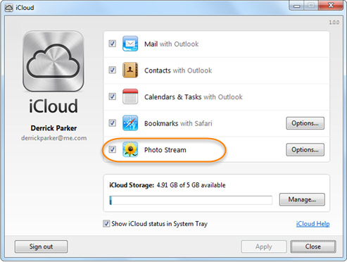 How to move pictures from icloud to a pc