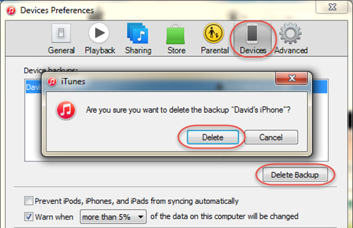 Delete iTunes Backups