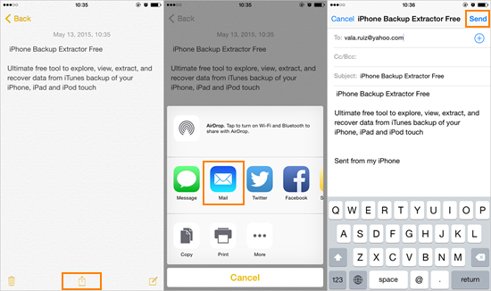 Email iPhone Notes Manually