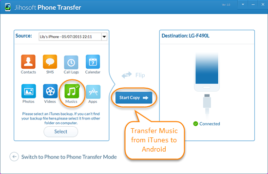 How to transfer songs from android to itunes
