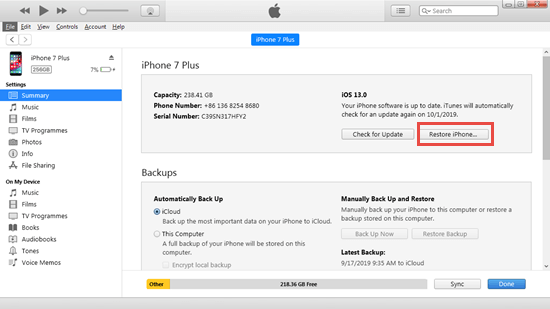 How to Erase iPhone from iTunes