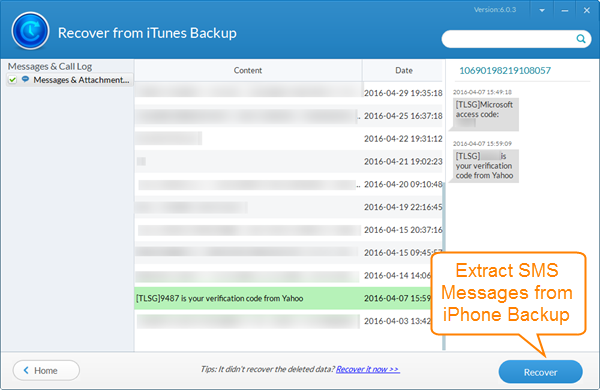 Extract & Recover SMS Messages from iPhone Backup