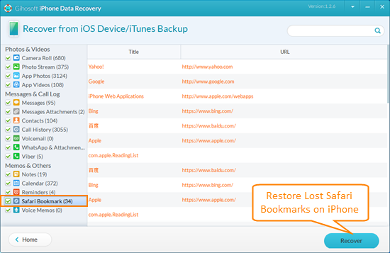 Restore Deleted/Lost Safari Bookmarks on iPhone Free
