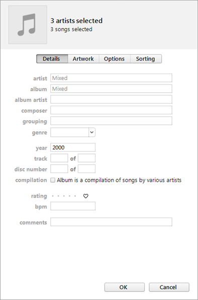 Method to tag Multiple Songs in iTunes