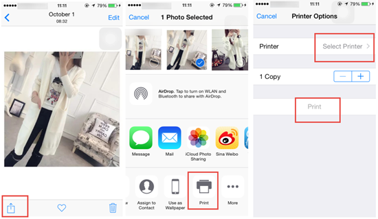 Print iPhone Photos via Photo Printer for iPhone