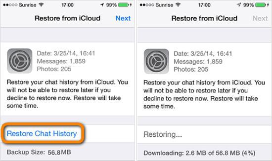 Restore WhatsApp Messages from iCloud