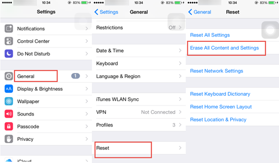 Reset & Erase All Content and Settings on iPhone