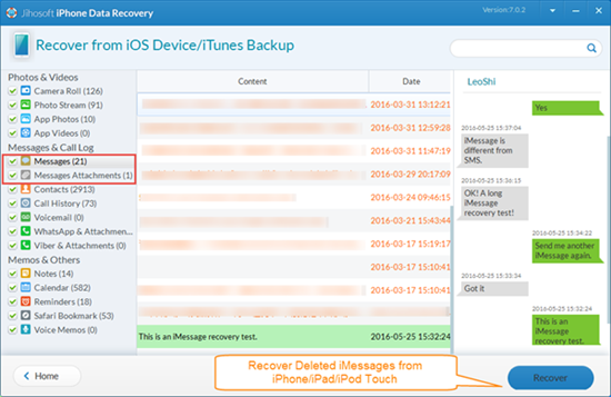 Recover Deleted iMessages from iPhone/iPad/iPod without Backup