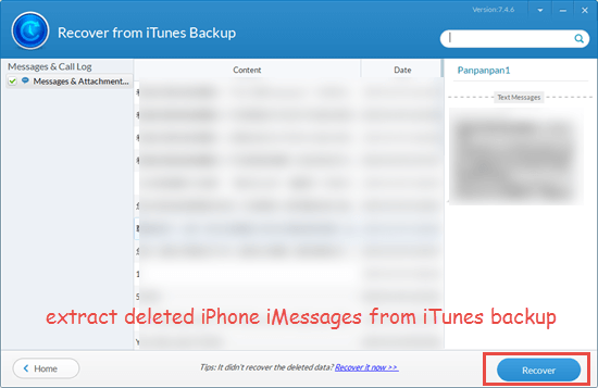 Extract deleted iMessages from backup on your computer