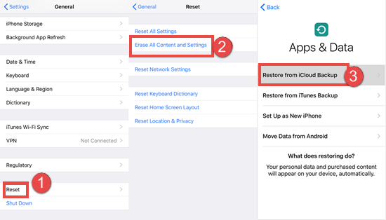 The traditional way to restore deleted iMessages from iCloud backup
