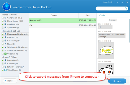 Export Messages from iTunes Backup to Computer