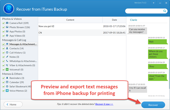 Export iPhone SMS Messages to PC for Printing