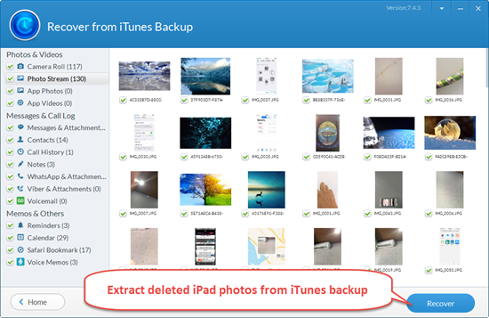 Extract Photos from Backup with iPad Backup Extractor