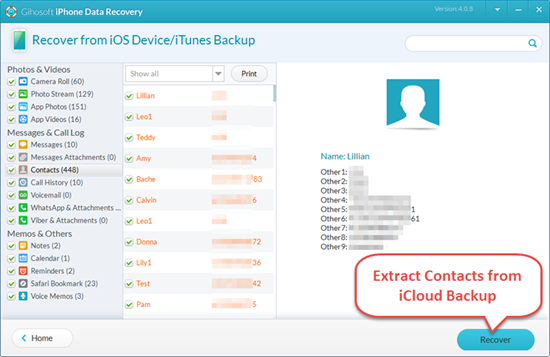 Extract Contacts from iCloud Backup