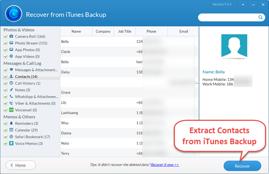 Extract & Recover Contacts from iTunes Backup