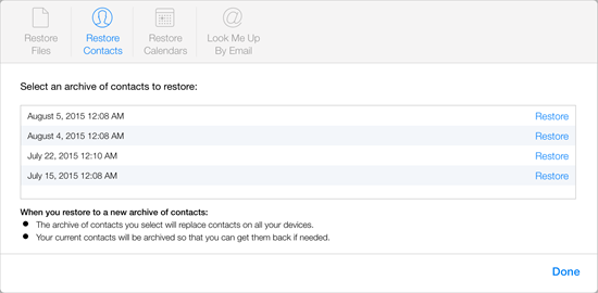 Restore Contacts from iCloud Advanced Settings
