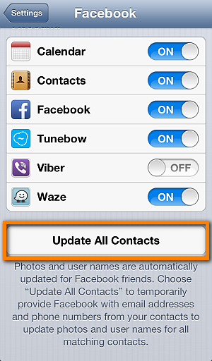 Sync Contacts from Facebook and Twitter