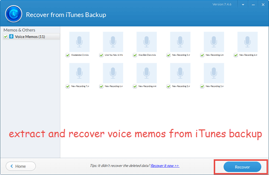 ecover Lost Voice Memos with Jihosoft Free iPhone Backup Extractor