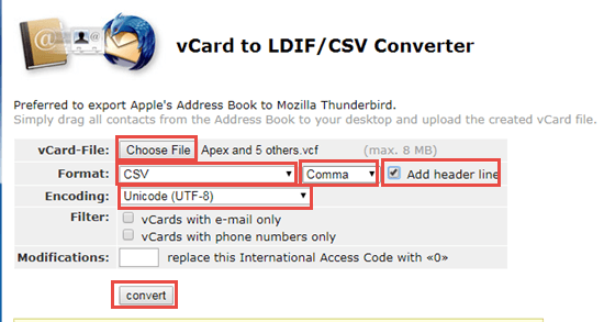 Covert iCloud contacts from vCard to CSV
