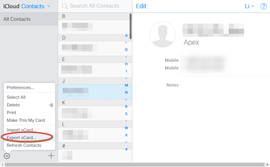 Export iCloud contacts to the computer