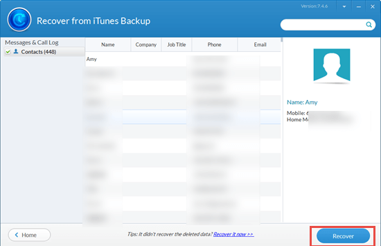 Export iPhone Contacts to Excel/CSV from iTunes Backup