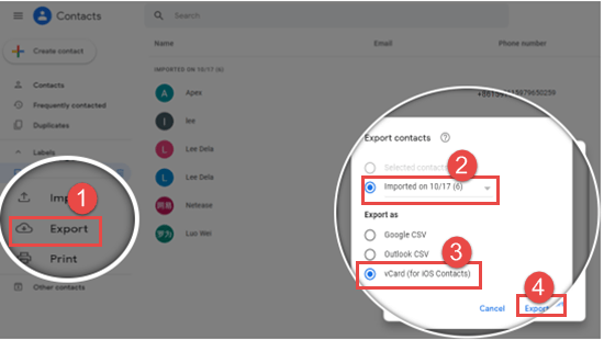 Import Contacts to Google Contacts
