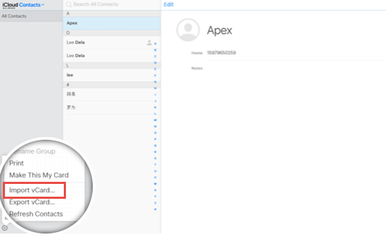 Sync Contacts to iPhone via iCloud