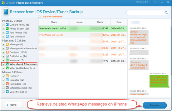 Recover Deleted iPhone WhatsApp Messages without Backup