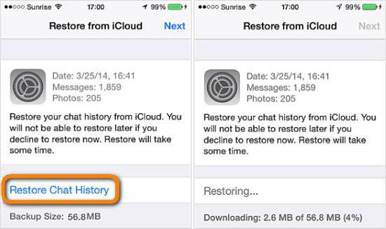 Restore WhatsApp Chat History from WhatsApp iCloud Backup