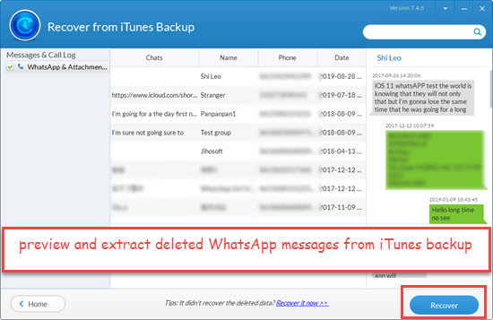 Retrieve Deleted iPhone WhatsApp Messages from iTunes Backup