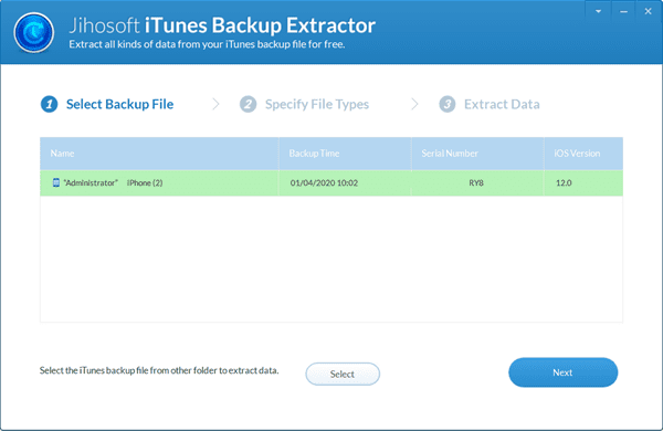 Run iTunes Backup Viewer and Select an iPhone Backup